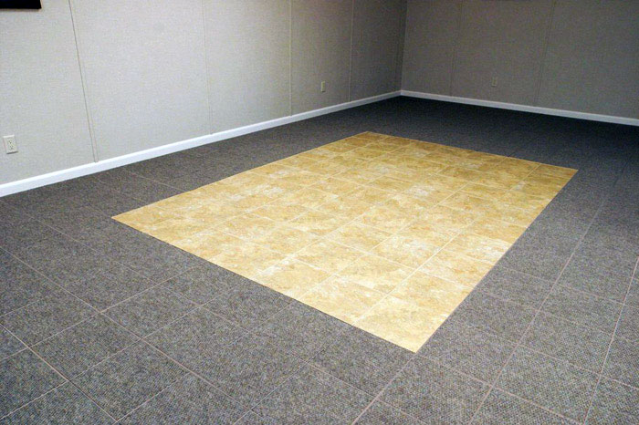 carpeted basement floor tiles installed on a concrete slab floor